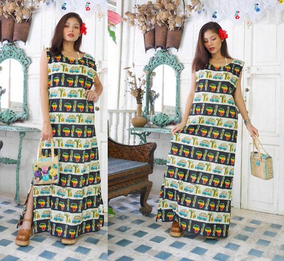 70s Boho Hippie Maxi Dress, Summer Dress, Bohemian