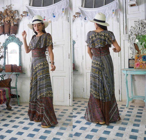 Vintage 70s Indian Cotton Gauze Maxi Dress, Boho D