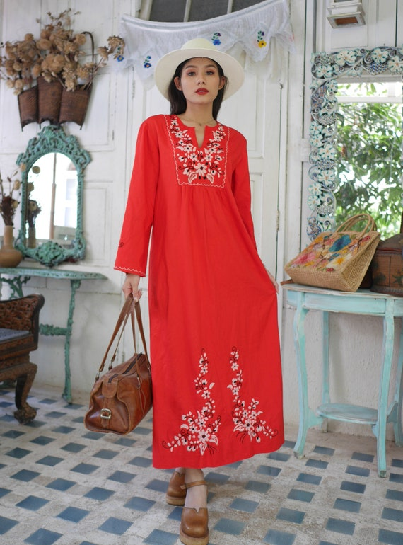 7211cfa283a 70s Red Mexican Maxi Dress / Floral Embroidered / Mexican | Etsy