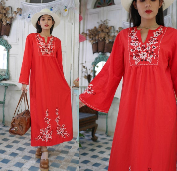 Vintage Red Mexican Embroidered  Dress, 70s Floral