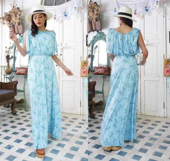 Vintage  Blue  Floral Maxi Dress  | Blue Floral Ma