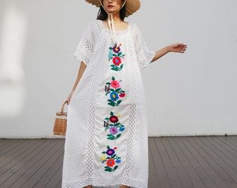 Vintage White Mexican Wedding Dress, Mexican White Crochet Bell Sleeve Dress, Vintage 70s Floral Hand Embroidered Crochet  Dress