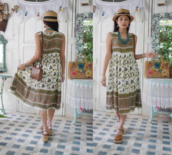 Vintage Indian Cotton Gauze Dress, 70s Indian Boho