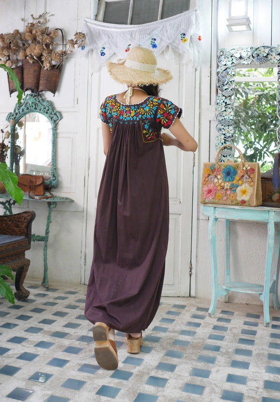 Vintage Mexican Oaxacan Maxi Dress, Mexican Brown… - image 6