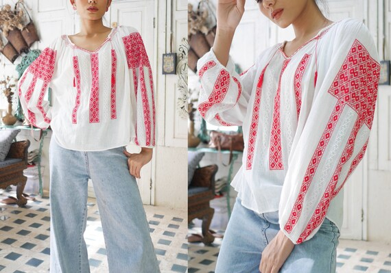 Vintage Embroidered Hungarian Gauze Cotton Blouse,