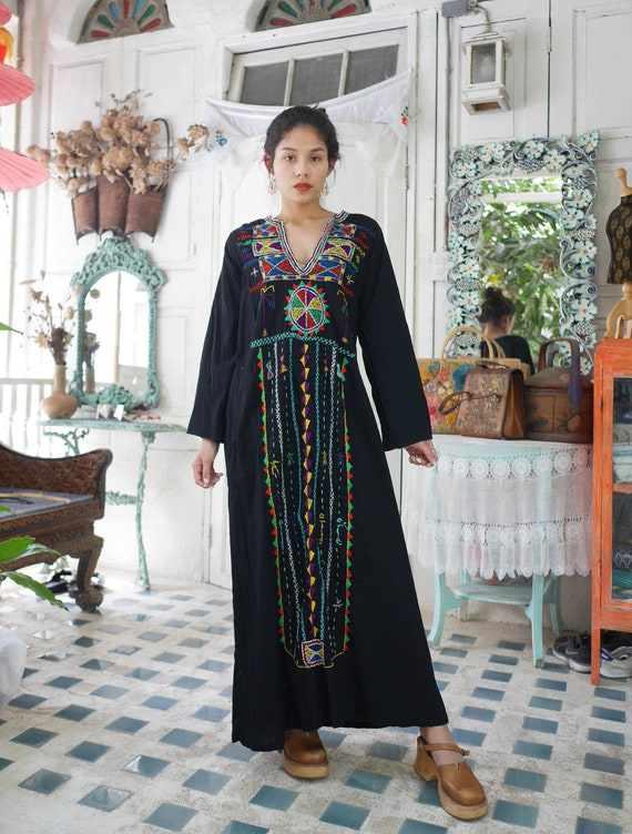 Vintage Bedouin Tunic Hand Embroidered Dress, Vint