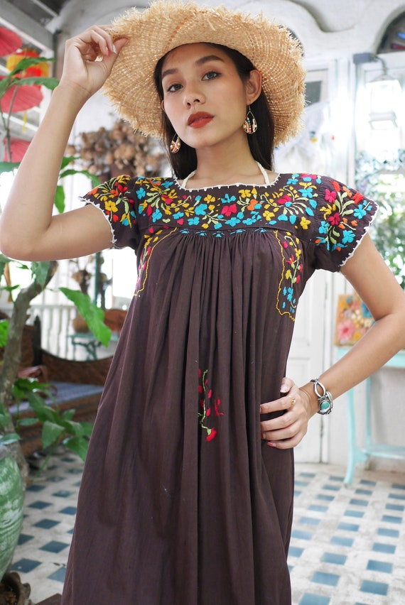 Vintage Mexican Oaxacan Maxi Dress, Mexican Brown… - image 5