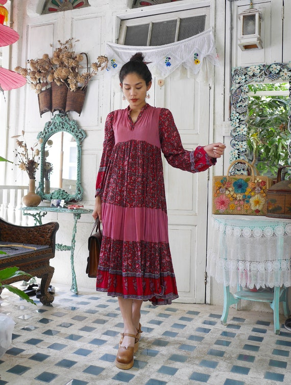 Vintage Indian Gauze Cotton Dress  70's Bohemian I
