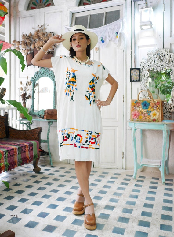 Vintage Hand Embroidered Mexican Tunic Dress, Embr