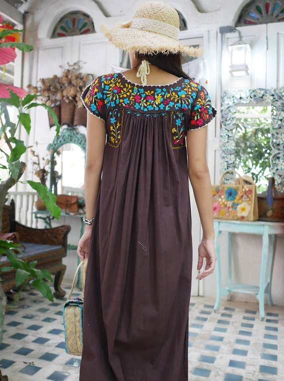Vintage Mexican Oaxacan Maxi Dress, Mexican Brown… - image 7