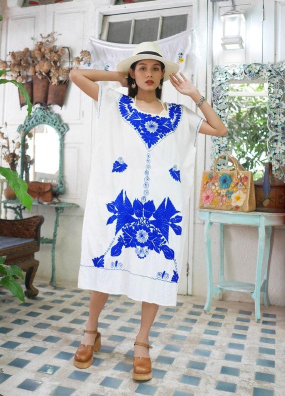 Vintage Mexican Embroidered Dress, Blue Floral Em… - image 5