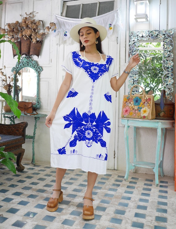 Vintage Mexican Embroidered Dress, Blue Floral Emb