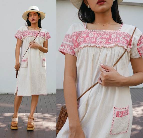 Vintage Mexican Embroidered Dress,