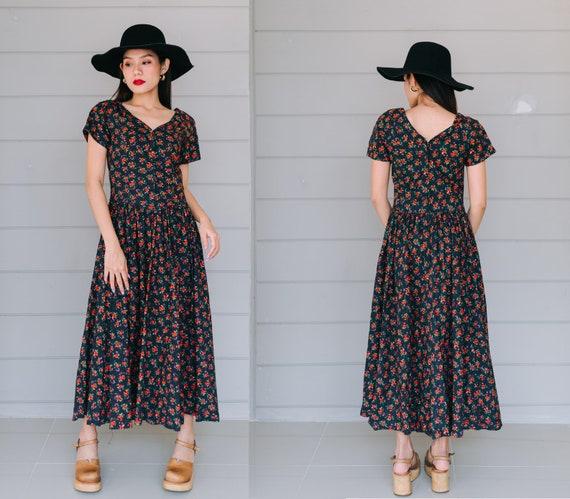 Vintage Laura Ashley Maxi Dress, Vintage Black Lau