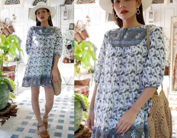 Vintage Indian Cotton Gauze Half Sleeves Dress, Bo
