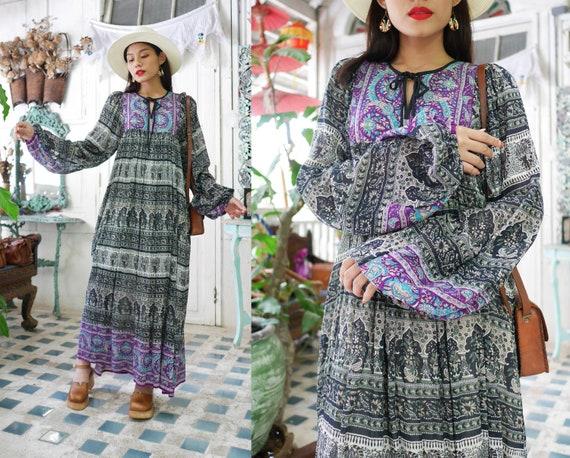 Vintage Indian  Cotton Gauze Dress / 70's Bohemian