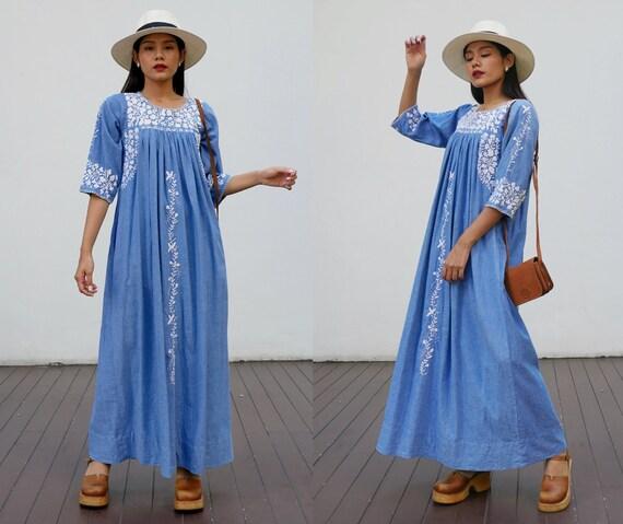 Vintage Oaxacan Maxi Dress, Mexican Dress White Fl