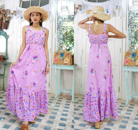 70s Hawaiian Maxi Dress, Boho Hippie Dress, Summer