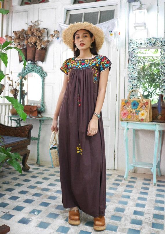 Vintage Mexican Oaxacan Maxi Dress, Mexican Brown… - image 3