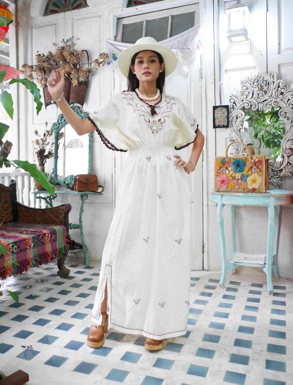 Vintage Kaftan Floral Embroidered Maxi Dress, Boho