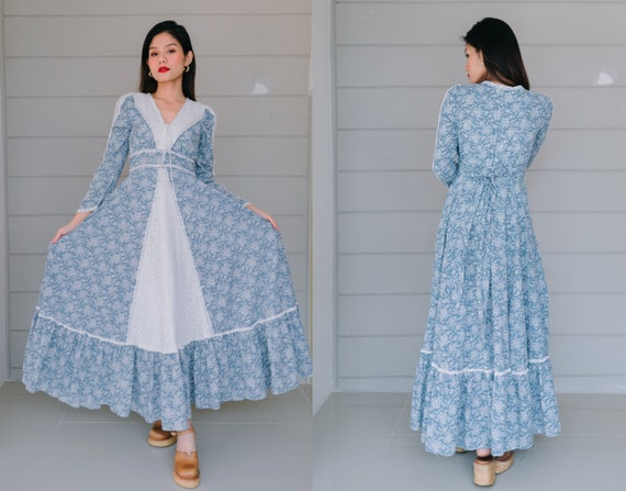 Vintage Gunne Sax Prairie Dress Size11 , Light Blu
