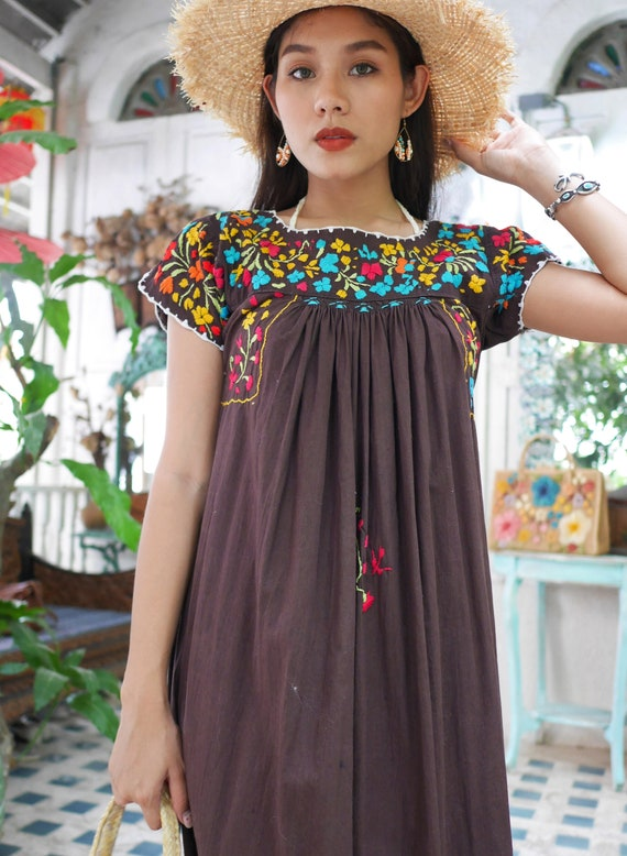 Vintage Mexican Oaxacan Maxi Dress, Mexican Brown… - image 9
