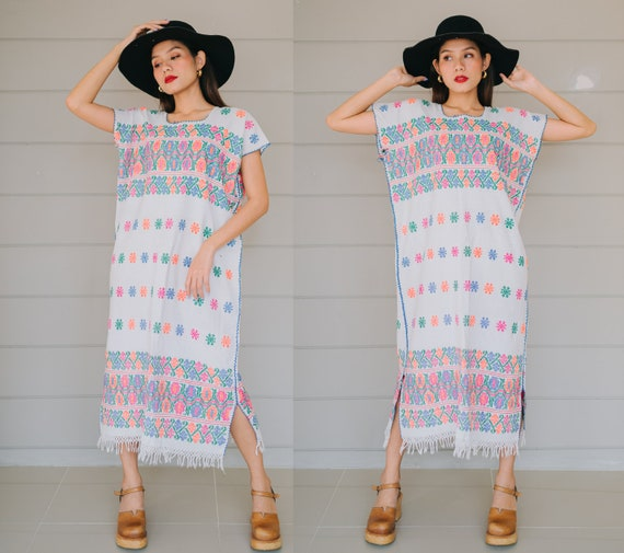 70s Vintage Oaxacan Hand Loomed Kaftan Dress, Vint