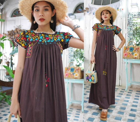 Vintage Mexican Oaxacan Maxi Dress, Mexican Brown