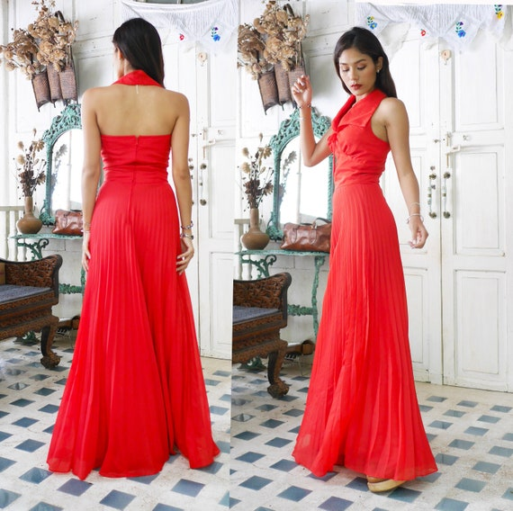 Classic RED Vintage Sleeveless Pleated Dress, Boho