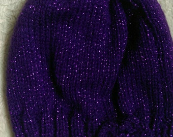 Hand knitted girls purple sparkly hats