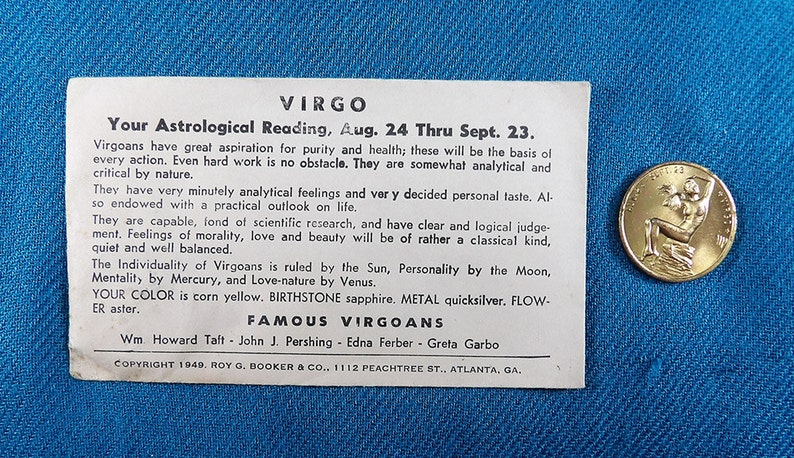 Virgo Zodiac Vintage Good Luck Collectable Coins/Tokens (Not US Currency)