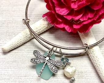 Blue Sea Glass Dragonfly Bracelet, Dragonfly Bracelet, Sea Glass Bangle Bracelet, Sea Glass Bracelet, Sea Glass Jewelry, Summer Jewelry