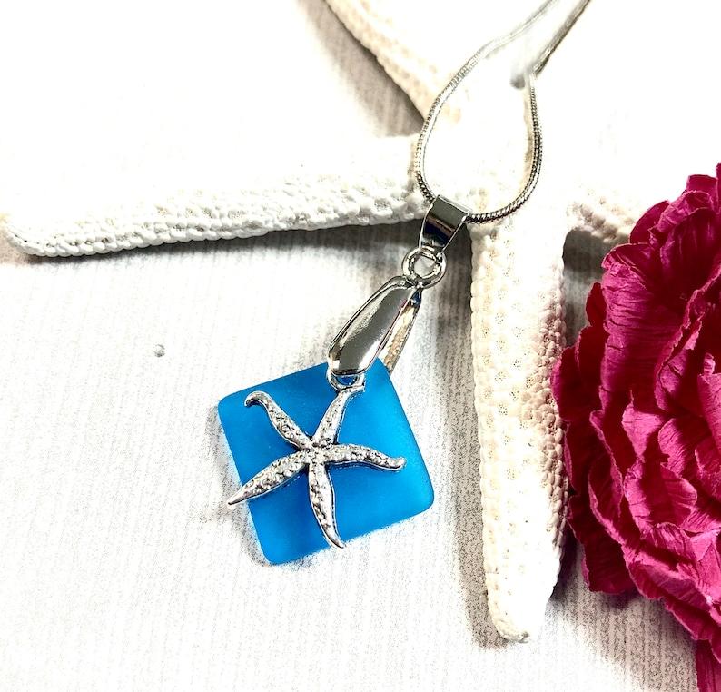 Beachy Jewelry Orange Sea Glass Sea Glass Starfish Necklace Sea Star Necklace Sea Glass Jewelry Starfish Necklace Sea Glass Necklace