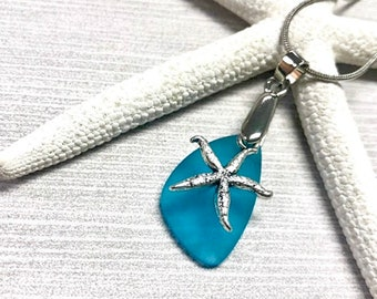 Blue Sea Glass Starfish Necklace, Starfish Pendant Necklace, Starfish Jewelry, Aqua Blue Sea Glass, Sea Glass Jewelry, Beachy Jewelry