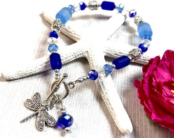 Sea Glass Dragonfly Bracelet, Dragonfly Bracelet, Sea Glass Bracelet , Blue Sea Glass, Sea Glass Jewelry, Dragonfly Jewelry, Summer Jewelry