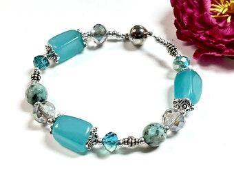 Chunky Aqua Blue Bracelet, Gemstone Bracelet, Statement Bracelet, Stone Bracelet,Magnetic Bracelet,Summer Jewelry,Boho Bracelet,Boho Jewelry