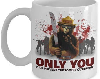The Walking Dead, Smokey The Bear, Walkers,  Zombies Lovers Gift. Only You Can Prevent The Zombie Outbreak Coffee Mug.
