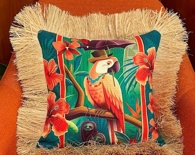 Head Salesman of the East, Double Sided Pillow Cover with Grass Skirt Fringe