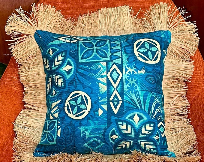 Alani and Marina Tapa, Double Sided Pillow Cover with Grass Skirt Fringe