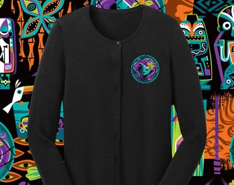 LAST CHANCE, Embroidered Calling All Spirits Black Cardigan Sweater