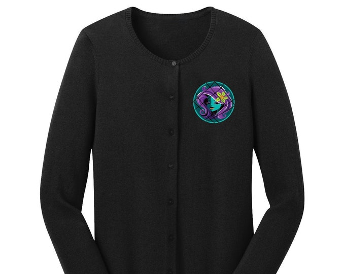 PRE ORDER Embroidered Calling All Spirits Black Cardigan Sweater