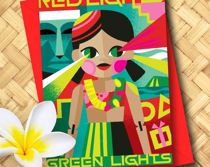 Red Lights Green Lights Greeting Card Set