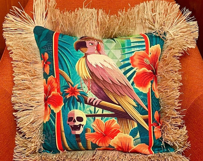 Head Salesman of the West, Double Sided Pillow Cover with Grass Skirt Fringe