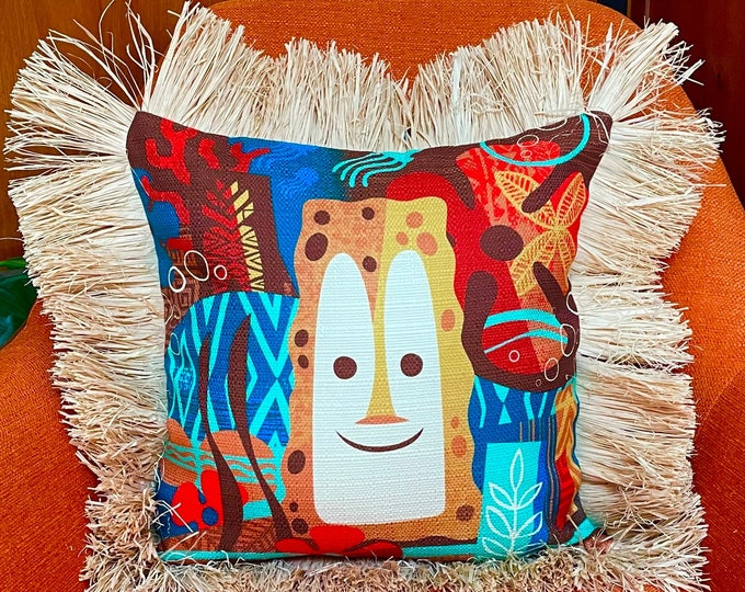 Tiki Bob Under the Sea, Double Sided Pillow Cover with Grass Skirt Fringe