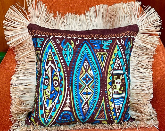 Jungle Journey, Double Sided Pillow Cover with Grass Skirt Fringe