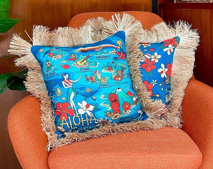 Wish You Were Here, Double Sided Pillow Cover with Grass Skirt Fringe