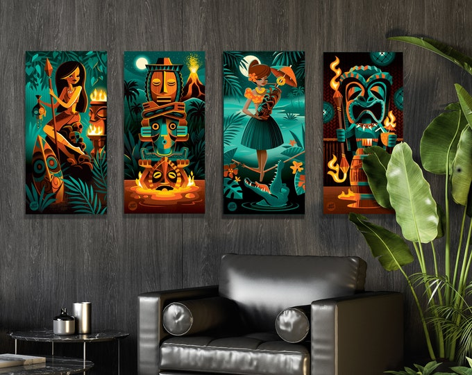 Autographed Gallery Canvas Giclees, Tiki Portraits Custom Set of Four, Domestic Shipping Included