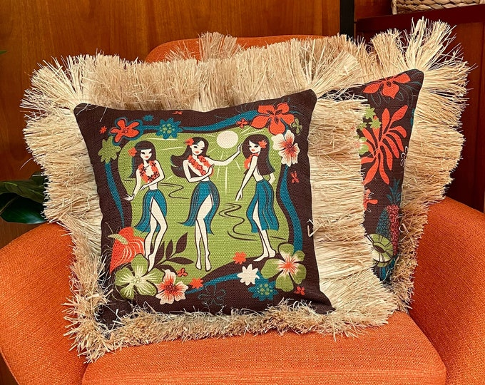 Hula Floral, Double Sided Pillow Cover with Grass Skirt Fringe