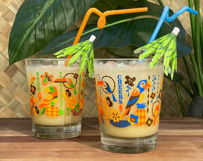 Two Cocktail Glasses, Birds Singing Words, Mai Tai 14 oz