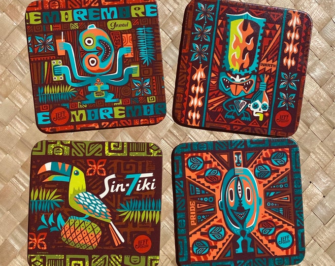 Set TWO-SinTiki Drink Coasters, Seven Deadly Sins, Greed, Wrath, Pride, and SinToucan